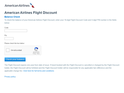 American Airlines gift card balance check