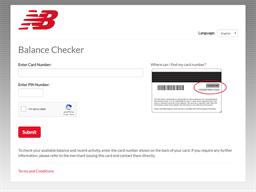 New Balance gift card balance check