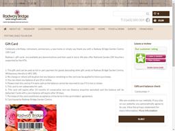 Radway Bridge Garden Centre gift card balance check