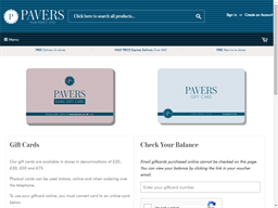 Pavers Shoes gift card purchase