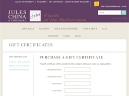 Jules China And Tableware gift card purchase