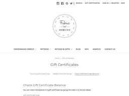 Fabric Godmother gift card balance check