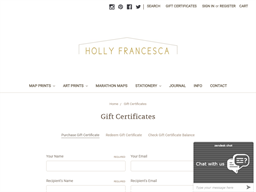 Holly Francesca gift card purchase