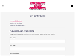 Fuzzbutt Cage Comforts gift card purchase