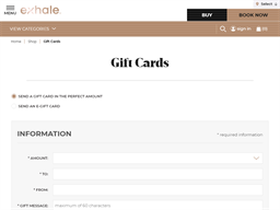 Exhale gift card purchase