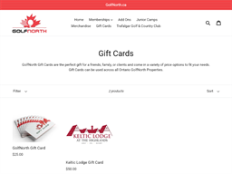 Golfnorth gift card purchase