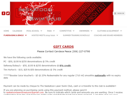 Saskatoon Lasers Swim Club gift card purchase