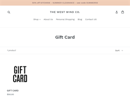 The West Wind Co. gift card purchase