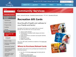City Of Winnipeg gift card purchase