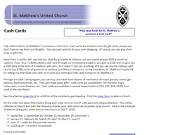 St. Matthew's United Church gift card purchase