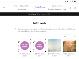 Lace Envy gift card purchase