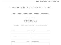 Yesteryear Toys & Books gift card purchase