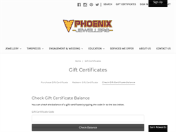 Phoenix Jewellers gift card balance check