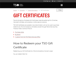 Toronto Symphony Orchestra gift card purchase