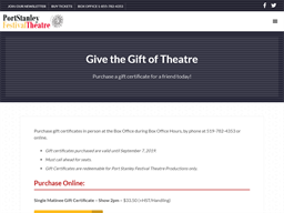 Port Stanley Festival Theater gift card purchase