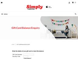 Simply Computing gift card balance check