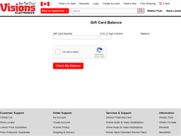Visions Electronics gift card balance check