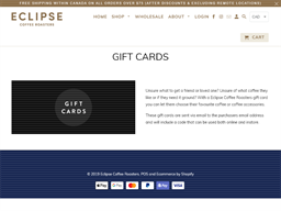 Rave Coffee Roasters gift card purchase