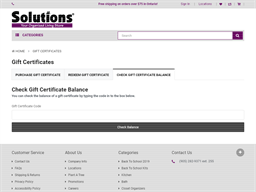 Solutions Store gift card balance check