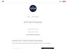 Zavida Coffee Roasters gift card balance check