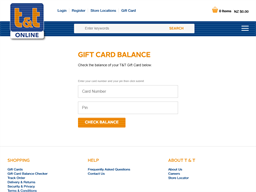 T&T Childrenswear gift card balance check