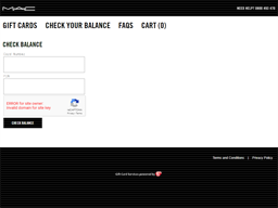 Mac Cosmetics gift card balance check