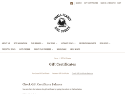 Small Planet Disc Sports gift card balance check