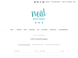 Neat Natural Products gift card purchase