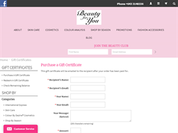 Beauty for You gift card purchase