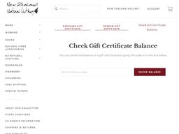 New Zealand Natural Clothing gift card balance check