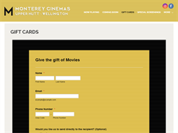 Monterey Cinemas Upper Hutt gift card purchase