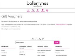 Ballentynes Fashion Central gift card purchase