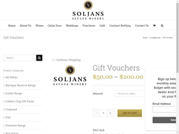 Soljans Estate Winery & Cafe gift card purchase
