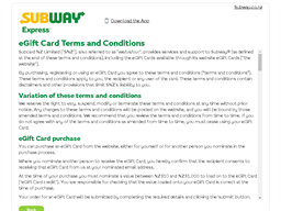 Subway Express gift card purchase