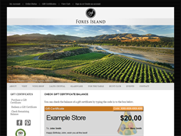 Foxes Island Wines gift card balance check