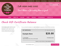 The Chocolate Cake Company gift card balance check