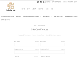 Belle la Vie gift card purchase