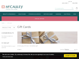 McCauley Chemists gift card purchase