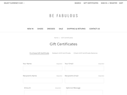 Be Fabulous gift card purchase