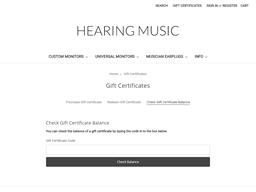 Hearing Music gift card balance check
