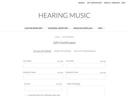 Hearing Music gift card purchase