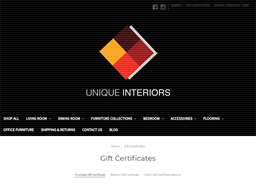 Unique Interiors gift card purchase