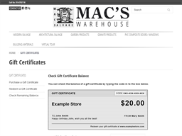 Mac's Warehouse gift card balance check