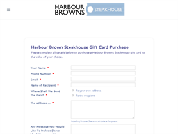 Harbour Browns Steakhouse gift card purchase