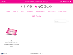 Iconic Bronze gift card purchase