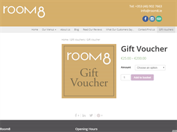 Room8 Café gift card purchase