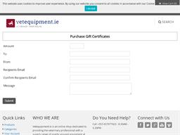 VetEquipment.ie gift card purchase