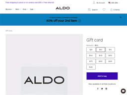Aldo gift card purchase