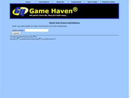 Game Haven gift card balance check