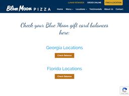 Blue Moon Pizza gift card balance check